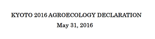 KYOTO 2016 AGROECOLOGY DECLARATION May 31, 2016