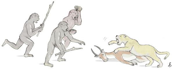 図1.初期人類による「対峙的屍肉食」のイメージ