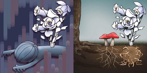 図2. 菌従属栄養植物にまつわる誤解 (左図) と実態 (右図)