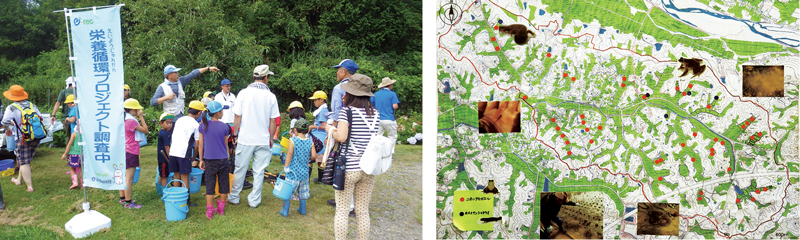 Photos 1 Social engagement in biodiversity monitoring (left) and a map of indigenous environmental icons (right) in the mid-stream community Kosaji