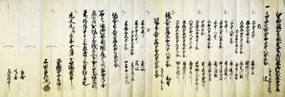 Village tax account in 1736 AD at Honkatada village, Shiga county, Ohmi state