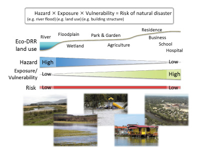 Figure 1 Ecosystem-based disaster risk reduction not only lowers disaster risks but also receives benefits of ecosystem services by reducing the exposure of human activities in high-hazard locations and supporting human activities in low-hazard places.