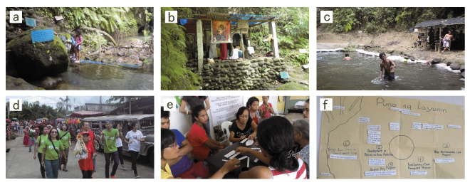 Photos 2 In the mid-stream community of Silan-Santa Rosa sub-watershed, a communal spring serves as a drinking fountain (a), a chapel (b), a bath (c). Its admission fee is used for a community feast (d). A workshop on the sustainable use of communal spring (e-f)
